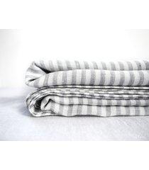 lniane prześcieradło płaskie gray stripes