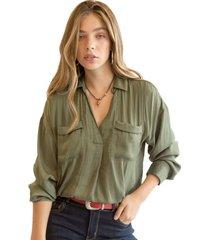 blusa constanza verde militar racaventura