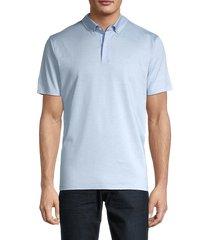 bogner men's short-sleeve cotton & linen-blend polo - light blue - size s