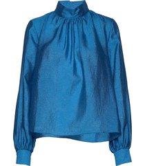 eddy, 784 textured poly blouse lange mouwen blauw stine goya