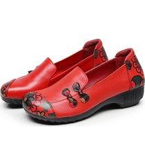 socofy retro casual scarpe basse in pelle morbida con stampa di fiore