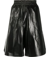 bottega veneta knee-length leather shorts - black