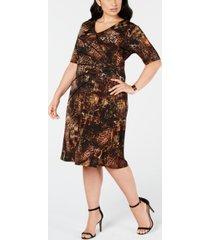 connected trendy plus size surplice sheath dress