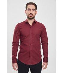 camisa bordó el genovés elastizada