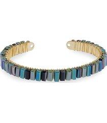 saachi women's mosaic beaded cuff bracelet