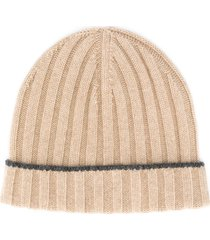 brunello cucinelli ribbed knit beanie - brown