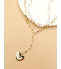 collar con dije de corazón con perlas de imitación