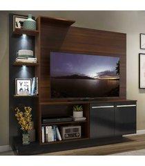 """estante c/ 2 leds painel tv 55"""" e 2 portas dallas multimã³veis madeirado/preto - marrom - dafiti"""