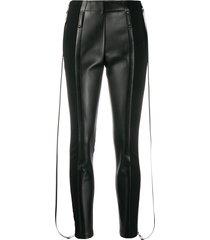 burberry zip-detail stretch crepe jersey leggings - black