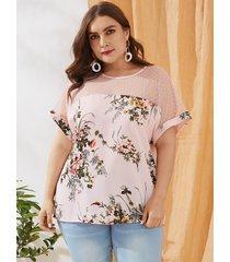 blusa de manga corta con cuello redondo y estampado floral de malla de yoins plus size