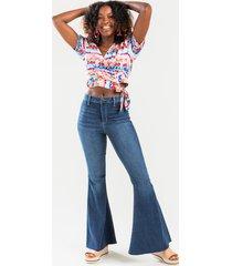 women's kris medium wash flare jeans in denim by francesca's - size: 8
