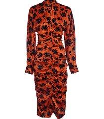 ganni silk stretch fitted dress