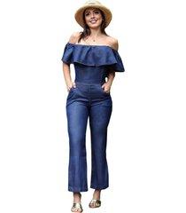 macacã£o jeans longo ciganinha - ewf jeans - azul escuro - azul - feminino - dafiti