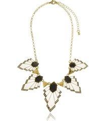 maxi colar le diamond geometricos esmaltados preto e branco