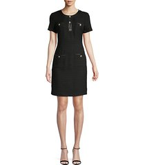cotton-blend mini sheath dress