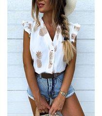 blusa sin mangas con cuello de pico y estampado de piña con volante blanco