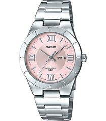 reloj casio ltp-1410d-4a análogo plateado rosado para mujer