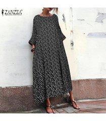 zanzea mujeres batwing del lunar kaftan larga camisa de vestir de cuello redondo vestido de midi plus -negro