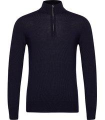 lane merino quater zip sweater knitwear half zip jumpers blauw j. lindeberg