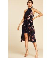 navy self-tie design floral print choker neck sleeveless dress