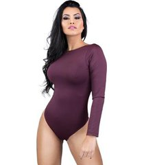 body feminino collant manga longa costa nua decote blusa mvb modas