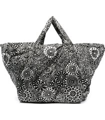 10 corso como doodle-graphic print padded tote - black