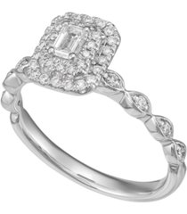 diamond emerald-cut halo engagement ring (1/2 ct. t.w.) in 14k white gold