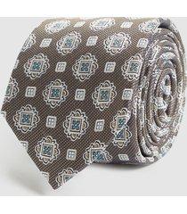 reiss bert - silk patterned tie in gold, mens