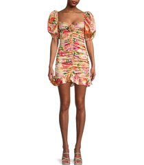 for love & lemons women's versilla floral ruched dress - peach - size m