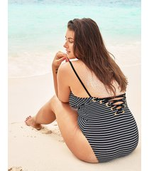 cast away stripe plunge lace up back tummy control one-piece swimsuit