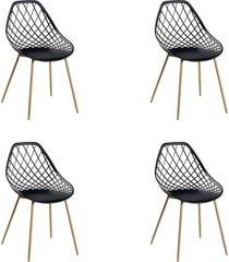 conjunto 04 cadeiras cloe base aço preto