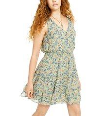 be bop juniors' smocked-waist floral-print dress