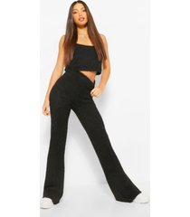 tall premium fluffy crop top and pants co-ord, black