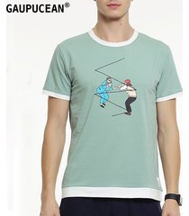 camiseta manga corta o-cuello casual gaupucean para hombre-verde