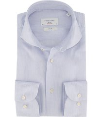 overhemd profuomo blauw wit slim fit