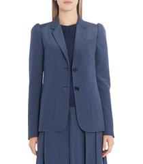 women's fendi microdot silk crepe de chine blazer, size 2 us - blue