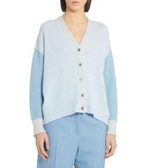 women's marni colorblock cashmere cardigan, size 10 us - blue
