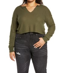 plus size women's bp. crop waffle knit pullover, size 4x - green