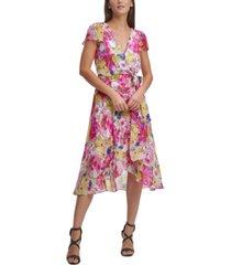 dkny floral-print flutter-sleeve faux-wrap midi dress