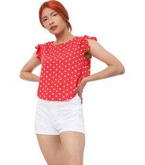 blusa m/s pepas color rojo, talla xs
