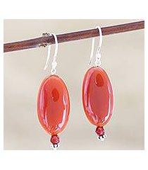 carnelian dangle earrings, 'trial by fire' (india)