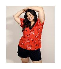 pijama feminino plus size com estampa floral e renda manga curta vermelho