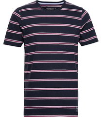 stripe crew t-shirts short-sleeved blå abercrombie & fitch
