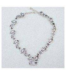 sterling silver link necklace, 'skeletal hat dance' (mexico)
