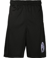 diesel embroidered logo track shorts - black