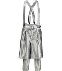 comme des garçons homme plus layered brace-strap trousers - silver