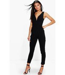 plunge skinny leg jumpsuit, black