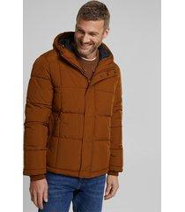 chaqueta hombre acolchada con capucha marrón esprit