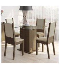 conjunto sala de jantar madesa dara mesa tampo de vidro com 4 cadeiras rustic/crema/pérola