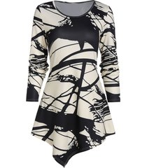 abstract paint pattern asymmetric longline t shirt